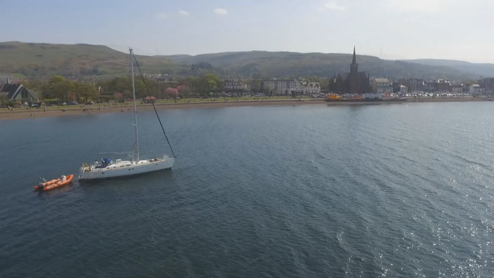 To Infinity at Anchor off Nardinis in Largs